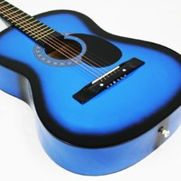 "Crescent MG38-BU 38"" Acoustic Guitar Starter Package, Blue (Includes CrescentTM Digital E-Tuner)"