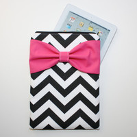 iPad Case - Android - Microsoft Tablet Sleeve - Black and White Chevron Hot Pink Bow - Padded
