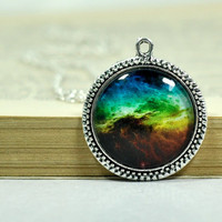 Colorful Galaxy Necklace, Galaxy Pendant, Silver Plated Space Jewelry