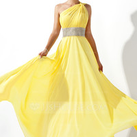 [US$ 128.99] A-Line/Princess One-Shoulder Floor-Length Chiffon Prom Dress With Ruffle Beading (018020583)