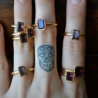AMETHYST /// Amethyst Stackable Faceted Gemstones Gold Electroformed Rings /// Gold