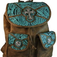 Texcyngoods Western Backpack Style Purse Tooled Faux Leather w/ Rhinestone Cross