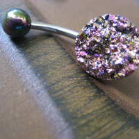 Rainbow Druzy Belly Button Jewelry Ring piercing Stud Bar Barbell Glitter Glittery Faux Crystal Pyrite Cluster