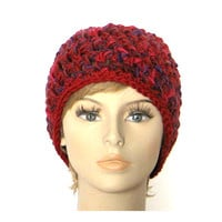 Warm Chunky Red Raspberry Crochet Cloche Hat Beanie - Luxury Wool in Fuchsia Purple Burgundy