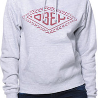 Obey Girls Diamond Leaf Heather Grey Pullover Hoodie