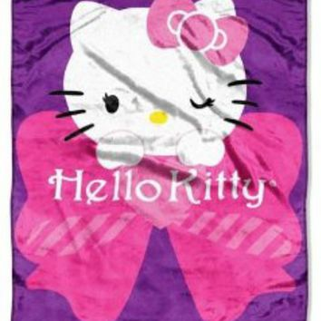 "Hello Kitty Stripes and Bows 46"" X 60"" Micro Raschel Throw Plush Pink Purple Blanket"