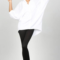 Oversized Bat Wint Sleeve White Top