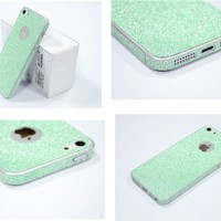 TCD Aqua Green Sparkling Glitter Full Body Skin Sticker Film With Clear Screen Protector For iPhone 5 5S