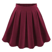 ROMWE Pleated Elastic Burgundy Skirt