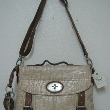 Fossil Maddox Top Handle Oatmeal Snakeskin Embossed Leather Bag ZB5071117 NWT