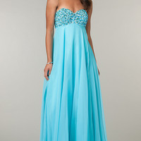 Empire Waist Floor Length Strapless Sweetheart Dress