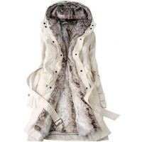 Thinkbay® Women's Faux fur Lining Fur Hoodies Ladies Coats Winter Warm Long Coat Jacket (Asian M, Beige)
