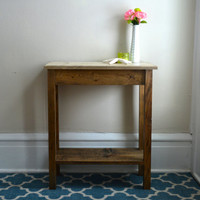 The Alexandra - Ivory Pine Side Table with Bottom Shelf