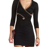 CRISS-CROSS CHAIN BODY-CON DRESS