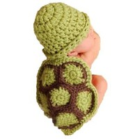 Baby Newborn Boy Girl Cute Turtle Tortoise Crochet Cotton Knit Costume Photo Prop