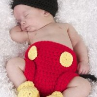 Photography Prop Baby Costume Cute Crochet Knitted Hat Cap Girl Boy Diaper Shoes Mouse