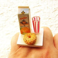 Breakfast Time Juice And Bagel Ring by SouZouCreations on Etsy