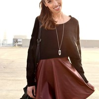 Leather Skater Skirt - Burgundy | Shop Civilized