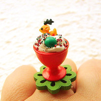 Christmas Food Ring Kawaii Reindeer Cookie by SouZouCreations