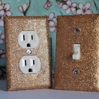 SET Of CHAMPAGNE Glitter Swichplate / Outlet Covers All STYLES