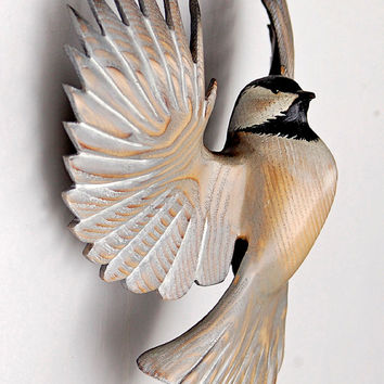 Chickadee wood sculpture woodcarving in Ash by Jason Tennant