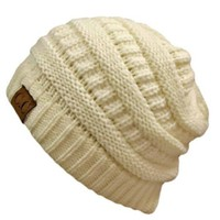 Winter White Ivory Thick Slouchy Knit Oversized Beanie Cap Hat