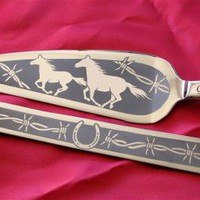 Personalized Cake Server and Knife Set, Cowboy Wedding, Western Wedding