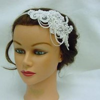 Wedding Bridal Retro Glam Headband, Lace Headband, wedding Headband, Bridal Headband - Harlow