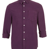 Solid Wine Long Sleeve Denim Shirt - TOPMAN USA