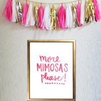 More Mimosas Please, 8.5 x 11 Bar Cart Print