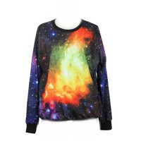 Neon Galaxy Cosmic Colorful Patterns Print Sweatshirt Sweaters