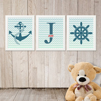 Nautical Nursery Wall Art Decor with monogram Print your own PRINTABLE Personalized 8x10 inch Blue chevron red for baby boy room decoration