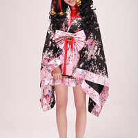 Black and Pink V-Neck Long Sleeves Short with Bowknot and Ringbells Cosplay Lolita Dress