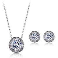 Classic Round Faux Diamond Earrings and Pendant Necklace Set
