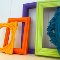 Bright Open Back Vintage Frames, College Dorm Decor, Little Girls Decor, Gallery Frames