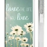 "Trendy Hipster iPhone 5 Case - ""Love the Life You Live"" Quote iPhone Case with Daisy Field"