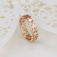 Rose Golden Color Stainless Steel Cut Out Clover Ring