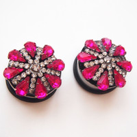 Glamsquared *Fashion Plugs*Jewelry*Accessories* — Deep Pink Fancy Lady Rhinestone Plugs