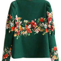 ROMWE Floral Puff Sleeve Band Collor Blouse