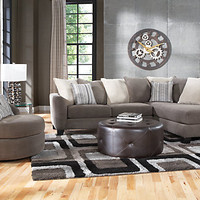 Meridian Springs Charcoal 3 Pc Sectional Living Room