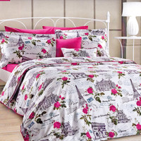 Custom Queen or Full Size Dark Pink, Fuchsia, Romantic Roses, Paris Theme Printed Satin Duvet Cover Set, 3 pieces