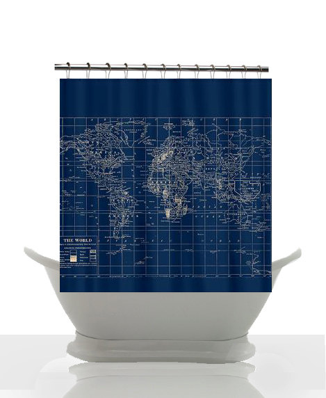 Decorative Shower Curtain Navy Blue And From Mapology On Etsy