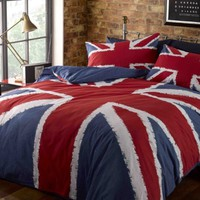 UNION JACK RED WHITE BLUE TWIN COTTON DUVET SET QUILT COVER SET COMFORTER COVER SET #KJINU *RH*