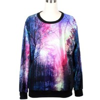 Dealkiller Women's Neon Galaxy Cosmic Print Roll Neck Sweatshirt Sweaters