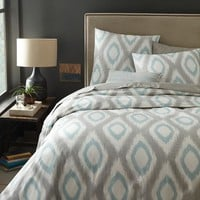 Organic Ikat Diamond Duvet Cover + Shams - Light Pool