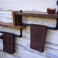 Bathroom Towel Rack With Two Reclaimed Oak Shelves