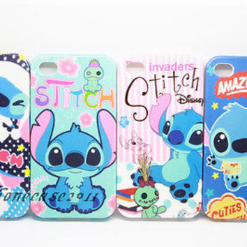 Disney Stitch Scrump Back TPU Bling Powder Soft Case Cover For iPhone 5 5S 4 4S