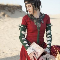 Fantasy natural flax-linen dress with detachable sleeves :: by medieval store ArmStreet