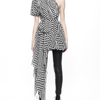 Asymmetric Chevron Chiffon Dress/Top