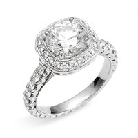 Jack Kelege 'Romance' Cushion Set Diamond Semi Mount Ring